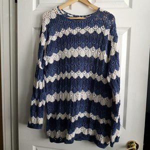 Crochet Blue & White Zig Zag Pattern Sweater